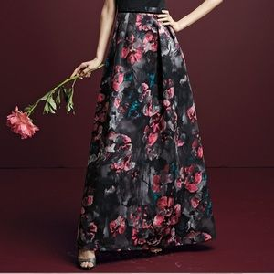 NWT Kay Unger Silk Maxi High- waist Ball Skirt